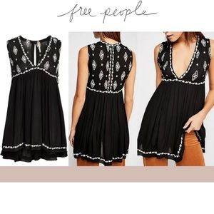 Free People New  Black Embroidered Sleeveless Top